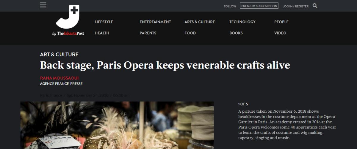 The Jakarta Post – Back stage, Paris Opera keeps venerable crafts alive