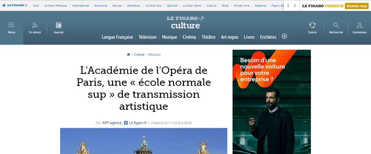 Le Figaro – L'académie de l'Opéra de Paris