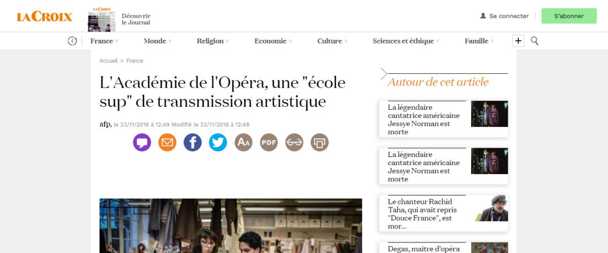 La Croix – L'Académie de l'Opéra, une «école sup» de transmission artistique
