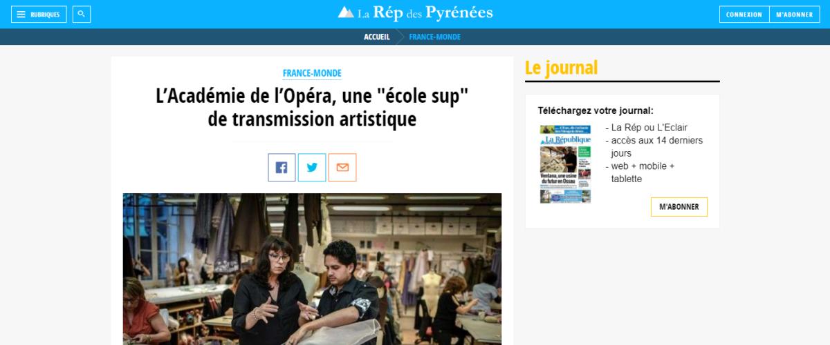 La Rép des Pyrénées – L'Académie de l'Opéra, une «école sup» de transmission artistique