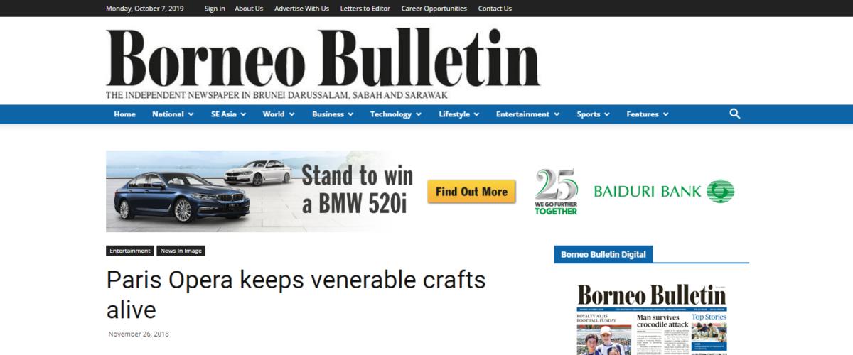 Borneo Bulletin – Paris Opera keeps venerable crafts alive