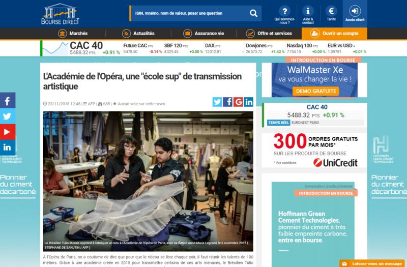 Bourse Direct – L'Académie de l'Opéra, une «école sup» de transmission artistique